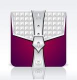 Skoroszytowa ikona z korona liśćmi osrebrza czerwonych kolory Zdjęcie Royalty Free