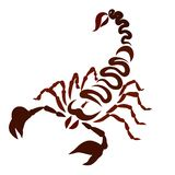 Skorpion som målas med brun spolning, fodrar, enormt royaltyfri illustrationer