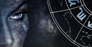 Skorpionhoroskoptecken Bakgrund för himmel för astrologikvinnanatt royaltyfri bild