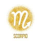 Skorpionsgoldfunkeln-Vektorsternzeichen stock abbildung
