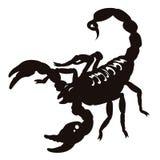 Skorpionsschattenbild Stockfoto
