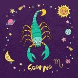 Skorpionzodiaktecken på bakgrund för natthimmel med stjärnor Royaltyfria Foton