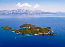 Skorpios island aerial view stock photos