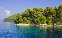 Skorpios Island coastline Royalty Free Stock Photo