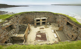 Skotsk förhistorisk plats i Orkney Skara Brae scotland Arkivfoton