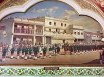 Skotsk musikband med säckpipeblåsarna i den kungliga armén av Mysore den furstliga staten Royaltyfri Foto