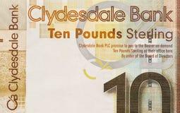 Skotsk sedel, 10 pund Arkivbilder