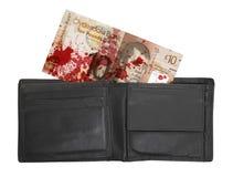 Skotsk sedel, 10 pund, blod Arkivbild