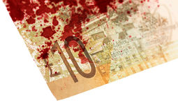 Skotsk sedel, 10 pund som isoleras på vit som är blodig Royaltyfria Foton