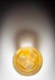 Skotsk whisky på vit bakgrund med copyspace Arkivfoto