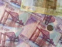 Skotska pundanmärkningar och mynt Royaltyfria Foton