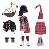 Skotska traditionella den dräktbeståndsdelar och säckpipan sänker vektorsymbolsuppsättningen stock illustrationer