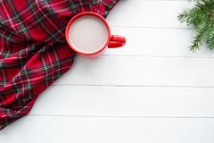 Skotskt kontrollerat tyg, en röd kopp av varm choklad och grankli arkivbilder