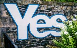 Skotskt självständighetfolkomröstningtecken Arkivfoto
