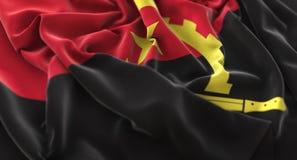 Skott för Angola flagga rufsat Beautifully vinkande makronärbild Royaltyfri Bild