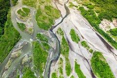 Skott för antenn för Pastaza flodhandfat arkivbilder