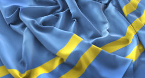 Skott för Aruba flagga rufsat Beautifully vinkande makronärbild Royaltyfri Fotografi