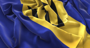 Skott för Barbados flagga rufsat Beautifully vinkande makronärbild Royaltyfri Foto