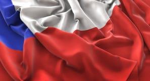 Skott för Chile flagga rufsat Beautifully vinkande makronärbild Arkivbild