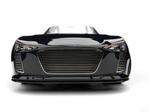 Skott för closeup för främre sikt för skinande kolsvart modern cabriolet toppet bil- royaltyfri illustrationer