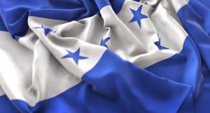 Skott för Honduras flagga rufsat Beautifully vinkande makronärbild Arkivfoto