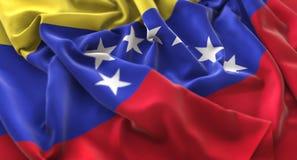 Skott för Venezuela flagga rufsat Beautifully vinkande makronärbild royaltyfri illustrationer