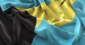 Skottet för Bahamas det flagga rufsade Beautifully vinkande makronärbild Royaltyfri Foto