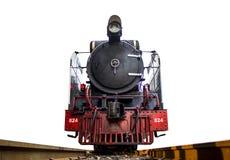 Skottframdel för låg vinkel av ångalokomotivet som är Stillahavs- på spåren royaltyfri bild