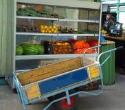 Skottkärra i matmarknad Royaltyfria Foton