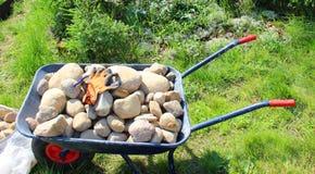 Skottkärra med stenar Arkivfoto