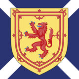 Skottland vapensköld och flagga Arkivfoto