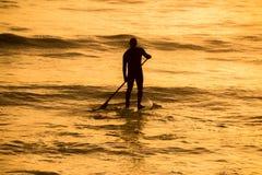Skovelboarder i orange solnedgång Royaltyfri Foto