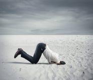 Skräck av krisen med affärsmannen gillar en struts arkivfoto