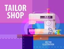 Skräddaren shoppar mallen för vektorlogodesignen elkraft royaltyfri illustrationer