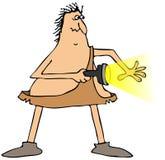 Skrämd grottmänniska med en ficklampa Arkivbild