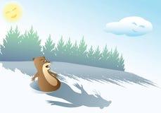 Skrämd rolig groundhog stock illustrationer