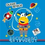 Skrämma den roliga tecknade filmen för astronautet, vektorillustration Royaltyfria Bilder