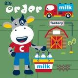 Skrämma den roliga tecknade filmen för mjölkbudet, vektorillustration Arkivfoton