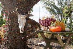Skrämma skallen på ett träd bredvid en tabell med pumpa och höna Arkivfoto
