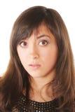 skrämmd brunett Fotografering för Bildbyråer