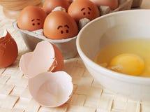 skrämmde ägg Arkivfoto