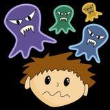 skrämmde pojkespökar Stock Illustrationer