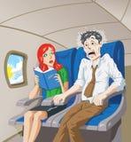 Skrämt av flyg stock illustrationer