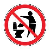 Skräpa ner inte i toalettsymbol 1 vektor illustrationer
