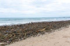 Skräpad ner kust, tomma plast-flaskor på stranden Arkivbilder