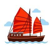 Skräpfartyget med rött seglar stock illustrationer