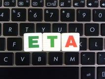 Skrót ETA na klawiaturowym tle zdjęcie stock