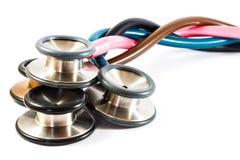 Skrętów kolorowi stetoskopy Zdjęcie Stock