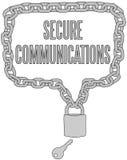 Säkra kommunikationer kedjar låser inramar Fotografering för Bildbyråer