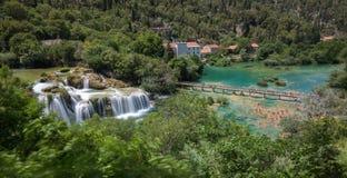 Skradinski Buk - Krka Waterfalls. A high view point of Skradinski Buk at the Krka National Park, Croatia consisting of many waterfalls and the bridge crossing royalty free stock image